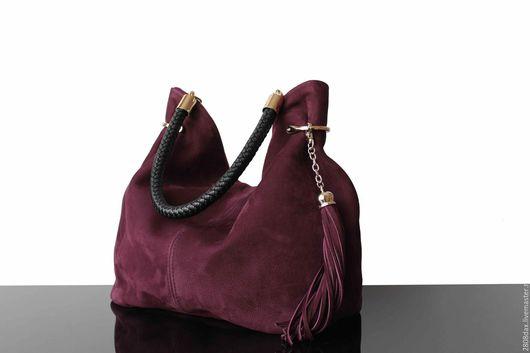 """Женские сумки ручной работы. Ярмарка Мастеров - ручная работа. Купить """"Granville сливовый"""" замшевая сумка, сливовый, сумка из замши. Handmade."""