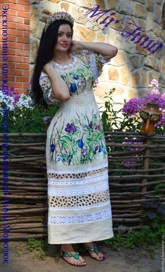 """Платья ручной работы. Ярмарка Мастеров - ручная работа. Купить Льняное вышитое платье """"КНЯЖНА"""". Handmade. Бежевый"""