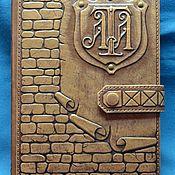 "Канцелярские товары handmade. Livemaster - original item Leather notebook ""WALL"". Handmade."