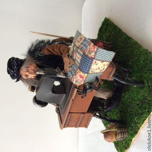 Сказочные персонажи ручной работы. Ярмарка Мастеров - ручная работа. Купить Кукла Баба Яга- швейка. Handmade. пластик