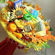 Цветы и флористика ручной работы. Ярмарка Мастеров - ручная работа Учителям букеты из конфет с букварем и тетрадью букеты из конфет. Handmade.