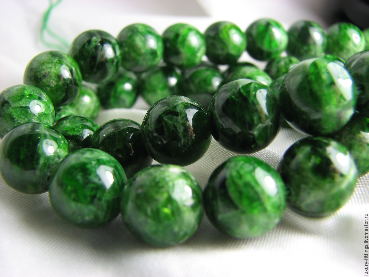 The chrome diopside, 10 mm smooth ball, Beads1, Moscow,  Фото №1