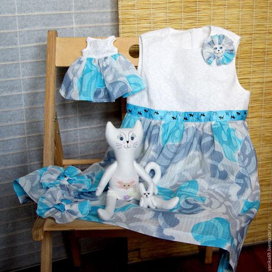 Одежда для девочек, ручной работы. Ярмарка Мастеров - ручная работа. Купить Летнее платье для девочки и кошечка - сшито на заказ. Handmade.
