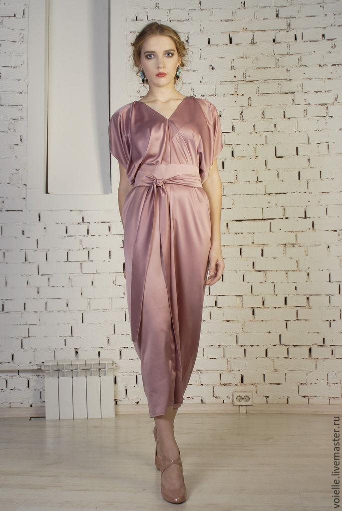 Платье шелковое длинное вечернее