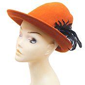Винтаж handmade. Livemaster - original item Bright hat made of 100% orange wool. Italy. Handmade.