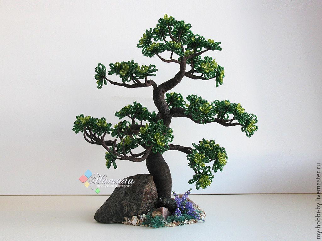 Деревья ручной работы. Ярмарка Мастеров - ручная работа. Купить Дерево из бисера «Зеленый Бонсай». Handmade. Бонсай, тёмно-зелёный