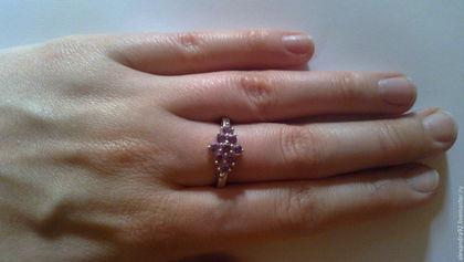 Кольца ручной работы. Заказать Серебряное кольцо с аметистом. Stone age. Ярмарка Мастеров. Кольцо с камнем, серебро