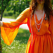 Одежда handmade. Livemaster - original item Long chiffon dress with slit