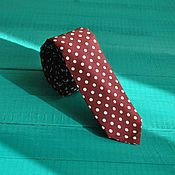 Аксессуары handmade. Livemaster - original item Burgundy tie with white polka dots from the herring to the wide solid. Handmade.