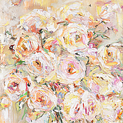 """Картины и панно ручной работы. Ярмарка Мастеров - ручная работа Картина маслом  """"Розы в нежной гамме"""" 40/60 см. Handmade."""