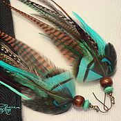 Украшения handmade. Livemaster - original item Turquoise and brown feather earrings. Handmade.