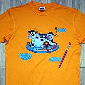 """Одежда ручной работы. Ярмарка Мастеров - ручная работа Футболка """"Летающая корова"""", ручная роспись. Handmade."""