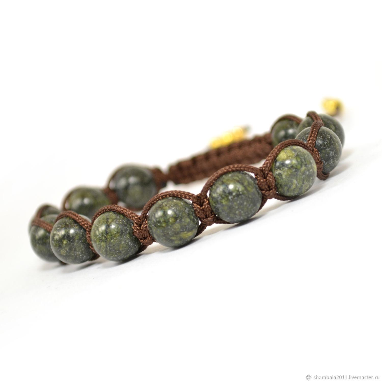 Shamballa bracelet with serpentine stone. fashionable bracelet. Shamballa genuine stones. Gift