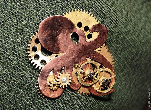 Броши ручной работы. Ярмарка Мастеров - ручная работа. Купить Октопод. Steampunk-брошь.. Handmade. Steampunk, осьминог, медь, олово