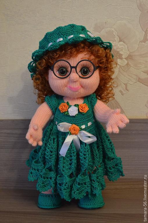 """Человечки ручной работы. Ярмарка Мастеров - ручная работа. Купить Кукла вязаная """"Оленька"""". Handmade. Зеленый, кукла в подарок, кудряшки"""