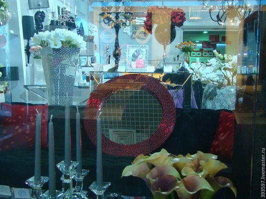Зеркала ручной работы. Ярмарка Мастеров - ручная работа. Купить Зеркало в мозаичной раме, сверкающий рубин. Handmade. Рубиновый