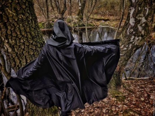 """Верхняя одежда ручной работы. Ярмарка Мастеров - ручная работа. Купить Плащ """"Бархат ночи"""" чёрный с застёжкой. Handmade. Черный"""