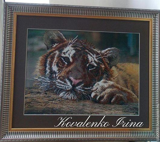 Животные ручной работы. Ярмарка Мастеров - ручная работа. Купить Тигр. Handmade. Коричневый, ручная вышивка, бисер чешский