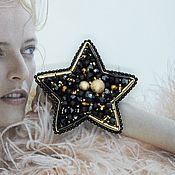 Brooches handmade. Livemaster - original item Star beaded brooch.Embroidered black and gold brooch star.. Handmade.