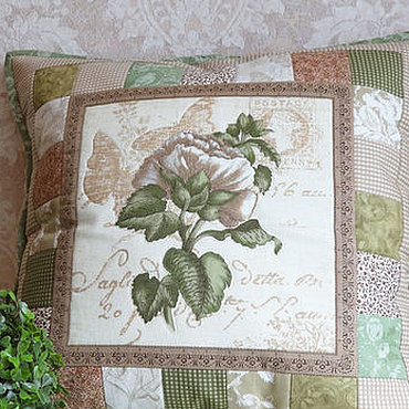 Для дома и интерьера handmade. Livemaster - original item Patchwork pillow case of Old herbarium.Peony.. Handmade.