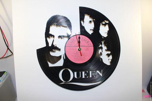 Часы для дома ручной работы. Ярмарка Мастеров - ручная работа. Купить Часы из виниловой пластинки Queen. Handmade. Черный, пластинка