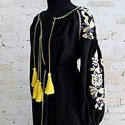 Одежда ручной работы. Ярмарка Мастеров - ручная работа Черное платье из льна с желтой вышивкой. Handmade.