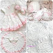 Работы для детей, handmade. Livemaster - original item Tenderness 1(plaid,dress,bonnet,booties). Handmade.