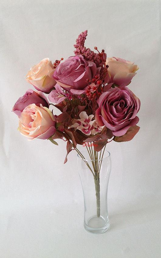 Материалы для флористики ручной работы. Ярмарка Мастеров - ручная работа. Купить Букет винтажных роз Б93. Handmade. Роза, цветы