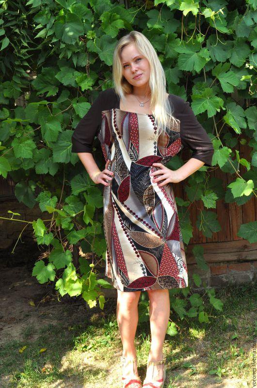 Платья ручной работы. Ярмарка Мастеров - ручная работа. Купить Платье комбинированное из трикотажа. Handmade. Коричневый, вискоза