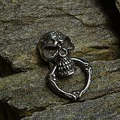 Украшения ручной работы. Ярмарка Мастеров - ручная работа Накладка череп с кольцом серебро для бумажника. Handmade.