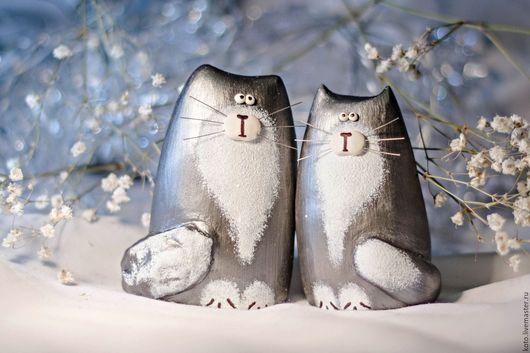 Персональные подарки ручной работы. Ярмарка Мастеров - ручная работа. Купить Пара кот и кошка серые дымчатые - подарок на 8 марта. Handmade.