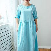 Одежда ручной работы. Ярмарка Мастеров - ручная работа Голубое хлопковое  платье. Handmade.