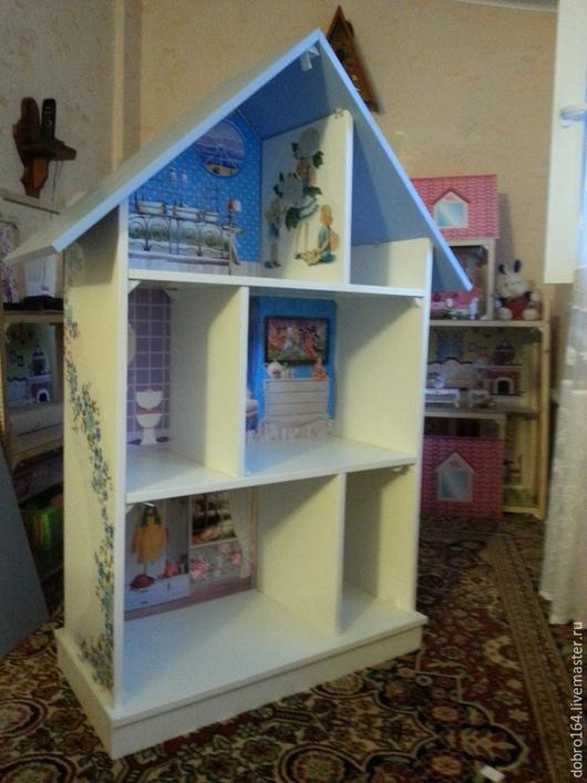 Кукольный дом ручной работы. Ярмарка Мастеров - ручная работа. Купить КУКОЛЬНЫЙ ДОМИК № 5. Handmade. Голубой