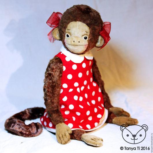 Мишки Тедди ручной работы. Ярмарка Мастеров - ручная работа. Купить обезьянка Марта. Handmade. Ярко-красный, красно-белый