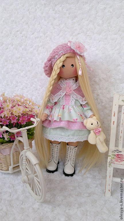 Коллекционные куклы ручной работы. Ярмарка Мастеров - ручная работа. Купить Textile doll Zemfirka. Handmade. Бледно-розовый