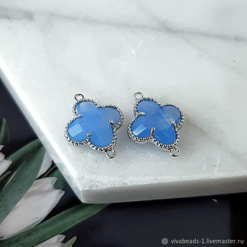 Connector Flower 15x11x5mm Blue / Rhodium Plated (4658), Pendants, Voronezh,  Фото №1