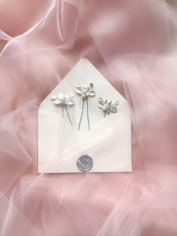 Свадебные украшения ручной работы. Ярмарка Мастеров - ручная работа. Купить Свадебное украшение в причёску на шпильке листики в серебре. Handmade.