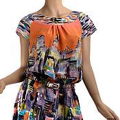Одежда ручной работы. Ярмарка Мастеров - ручная работа Оранжевое солнце, оранжевое небо.,  (44 р) Платье батик крепдешин. Handmade.