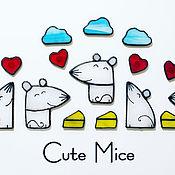 Магниты ручной работы. Ярмарка Мастеров - ручная работа Тайная вечеря Магниты из стекла Милые Мышата Cute Mice #116. Handmade.
