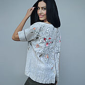 Одежда handmade. Livemaster - original item Linen blouse with embroidery and painting