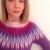 Одежда ручной работы. Ярмарка Мастеров - ручная работа Лопапейса - пуловер с круглой жаккардовой кокеткой. Handmade.
