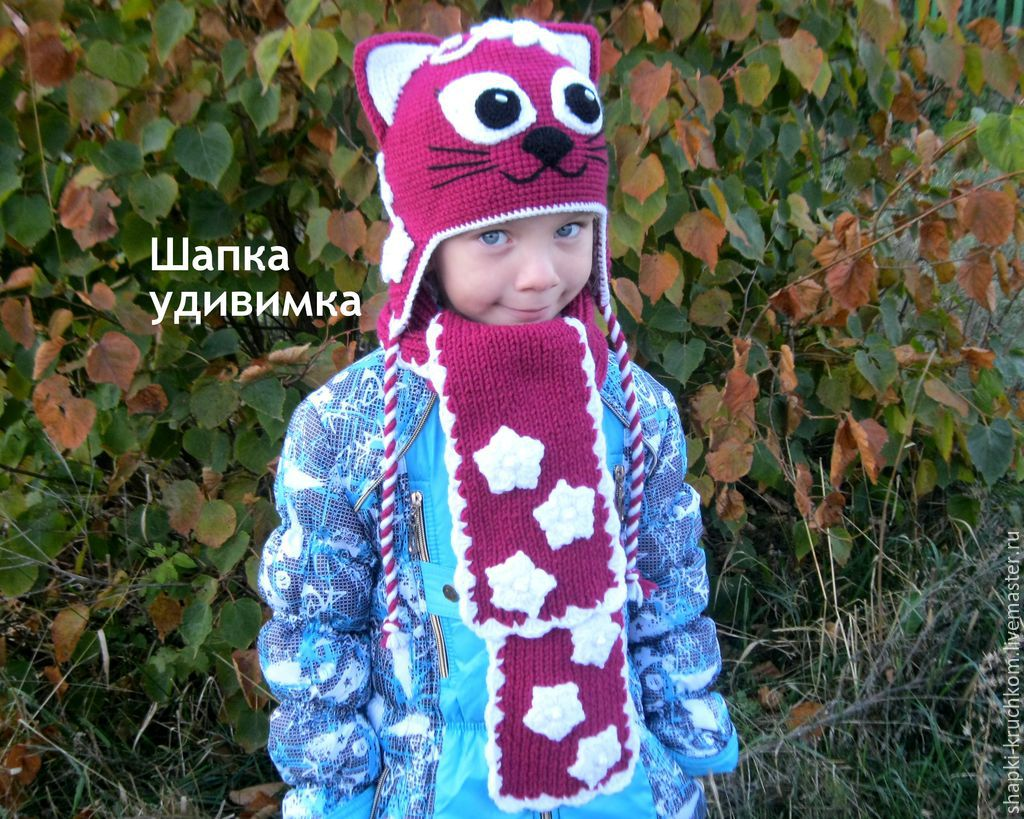 Комплект шапка и шарф 'Кошка'