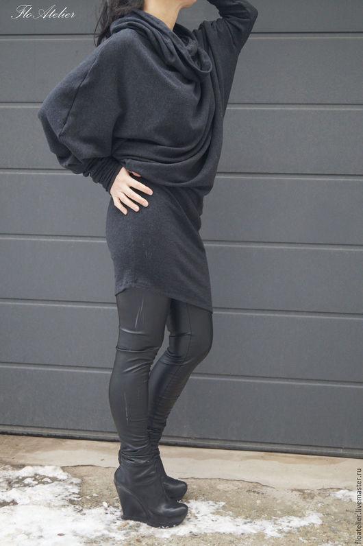 Жилеты ручной работы. Ярмарка Мастеров - ручная работа. Купить Серый ассиметричный свитер/Свитер с капюшоном/F1541. Handmade. Серый, свитер на заказ
