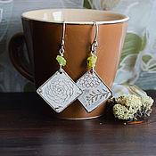 Украшения handmade. Livemaster - original item Boho earrings with chrysolite Silver earrings with nature ornament white. Handmade.