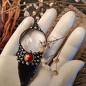 handmade. Livemaster - original item Obsidian Fang Pendant with Agate (p-011-15). Handmade.
