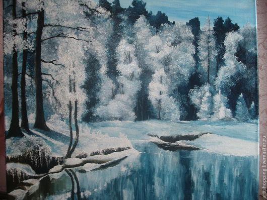 Пейзаж ручной работы. Ярмарка Мастеров - ручная работа. Купить Зима. Картина маслом.. Handmade. Голубой, река, зимний пейзаж