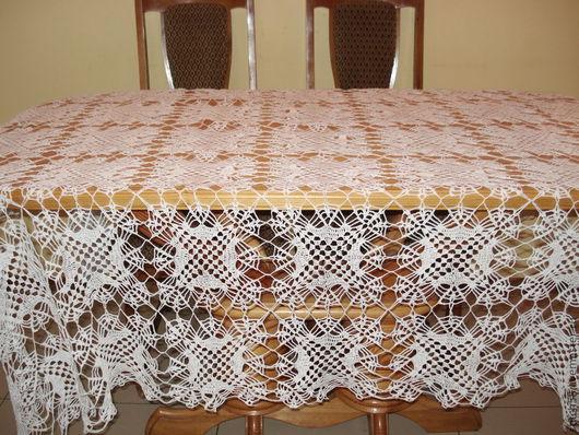 Текстиль, ковры ручной работы. Ярмарка Мастеров - ручная работа. Купить Скатерть вязанная ручной работы. Handmade. Белый