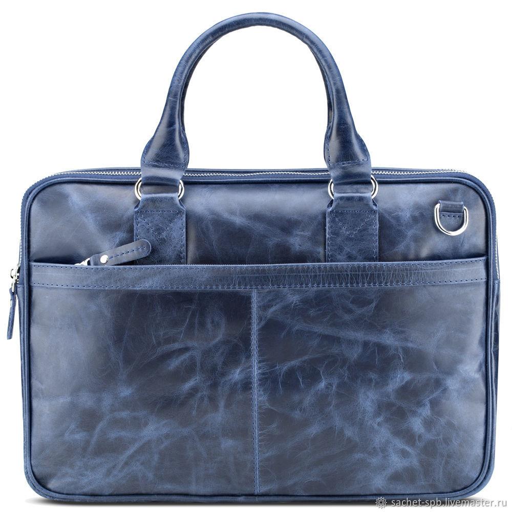 Leather business bag 'Clark' (blue antique), Classic Bag, St. Petersburg,  Фото №1