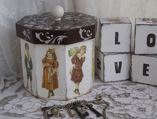 """Корзины, коробы ручной работы. Ярмарка Мастеров - ручная работа. Купить Короб  """"Ретро картинки"""". Handmade. Белый, игрушки"""