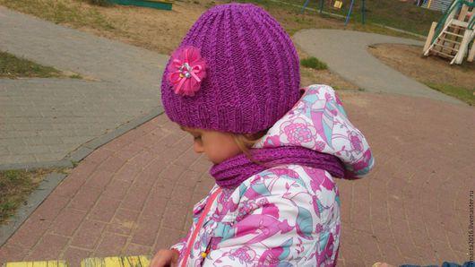 Детские аксессуары ручной работы. Ярмарка Мастеров - ручная работа. Купить Осенняя шапка и снуд для девочки. Handmade. Однотонный
